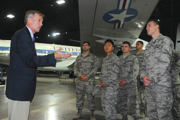 Submitted photo United States Air Force Academy cadets recently view the recently opened fourth hangar at the National Museum of the United States Air Force guided by museum director Lt. Gen. John L. Hudson (retired). Cadets visited Wright-Patterson Air Force Base as part of the Ops AF program, giving them real world experience with air force culture and careers to aid their professional development.