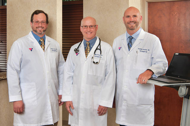 Submitted photo The general surgery partners of First Surgical Care — Paul Levy, DO; Michael Elrod, DO; Andrew Archer, DO — have joined Kettering Physician Network.
