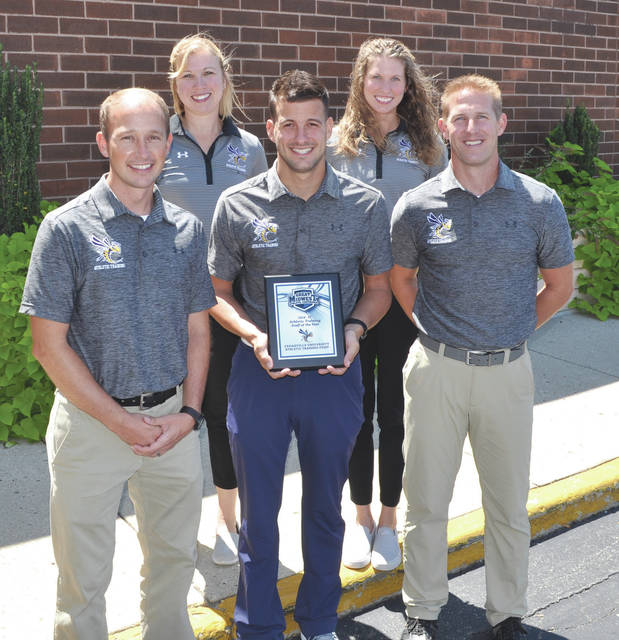 The team of (left-to-right) Kurt Beachy, Amanda Meade, Kurt Gruenberg, Rebecca Stokes, and Wes Stephens, was named the Great Midwest Athletic Conference's Athletic Training Staff of the Year for the 2016-'17 athletic season.