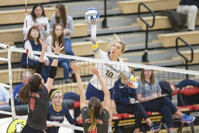 The defending Great Midwest Athletic Conference champion Cedarville University women's volleyball team, with G-MAC Player of the Year Gabby Olson (pictured), was picked to finish second for the 2017-'18 season behind G-MAC newcomer the University of Findlay, in a coaches poll released Aug. 16.