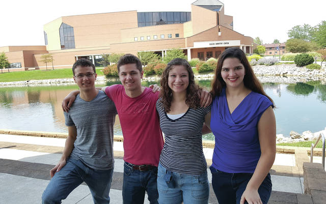 Submitted photo Jordan, Luke, Victoria, and Tiffany Denen — all four Cedarville University students in 2017-18.