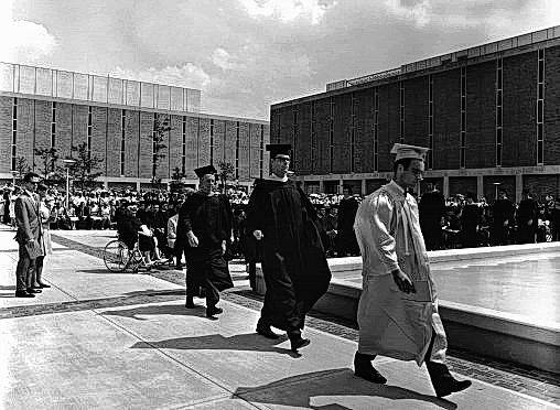 Submitted photos Wright State held its first commencement ceremony on the Quad in 1968.