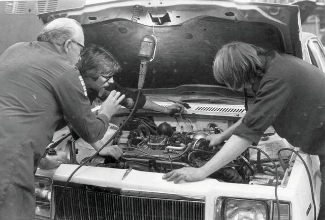 Submitted photo Auto tech students work on a car at Greene Joint Vocational School in the 1980s.