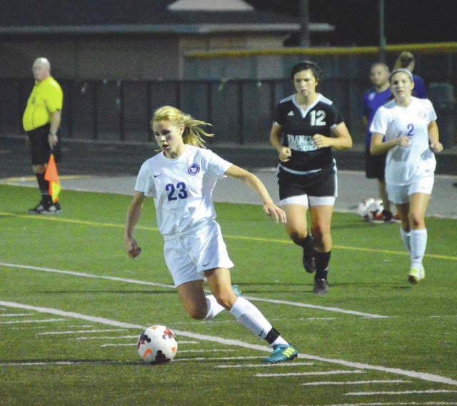 Bellbrook sophomore Bailey Sedlak (23) scored two of the Golden Eagles' goals in the 4-0 Sept. 26 win over visiting Franklin.