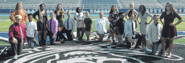 Scott Halasz | Xenia Gazette The 2017 Xenia homecoming court (left to right): Ty Walker; Logann Jackson; Ronald Wakefield; Daia Nelson; Trace Howdyshell; Sophia Ensey; Sam Johnson; Daerielle Gray; Chance Haught; Nate Higgins; Ariana Clemens; Sincere Wells; Grace Sanders; Nate Craft; Calli Jones; Cole English; and Lexie Collier. Not pictured is Grace Bond.