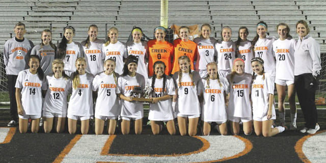 The Beavercreek High girls varsity soccer team, shown here after winning the 2017 Greater Western Ohio Conference, National East divisional trophy, enters postseason play as the No. 2 seed in Division I.
