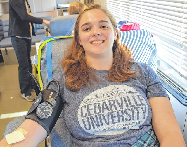 Joanna Gibson was happy to donate blood.