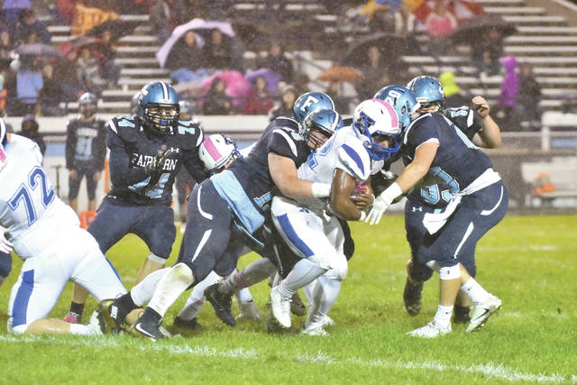 It took four Fairborn Skyhawks to bring down Xenia running back Sincere Wells on this play. Wells finished the year with 1,350 yards on 210 carries, and scored 15 touchdowns.