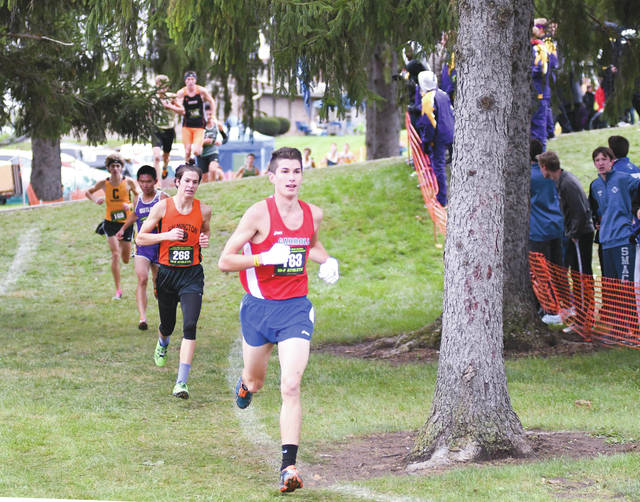 Carroll senior Karl Grossman (163) was the Greene County area's top finishing Division I boys runner, finishing seventh overall with a time of 16 minutes, 17.41 seconds at the regional cross country championships, Oct. 28 in Troy.