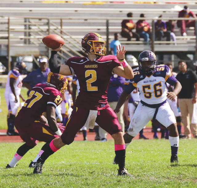 Central State University quarterback Trent Mays (2) was named Offensive Player of the Week by the Southern Intercollegiate Athletic Conference on Oct. 16.