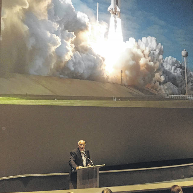 Former NASA administrator and astronaut Col. Frederick Gregory spoke to the eighth graders after watching the movie.