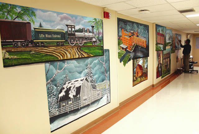 Anna Bolton | Greene County News Gary Blevins from Xenia has been working on a mural in Greene Memorial Hospital for the last six weeks.