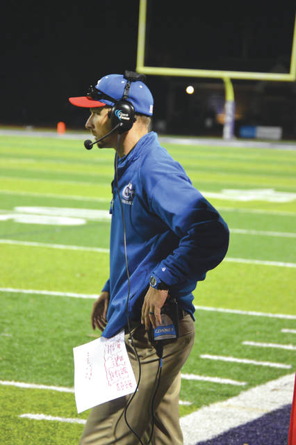 Head coach Ryan Haines calls a play from the sideline. Haines and assistant coaches Ben Blankenship, Neal Kasner, Mark Matt, Brent Noes, Colton Pfeifer and Terry Seigfried guided the Greeneview Rams to a 10-0 regular season record.