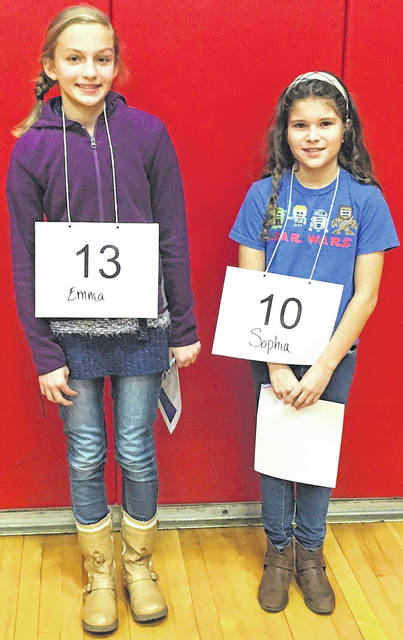 Submitted photo Cedarville Elementary School recently held its spelling bee. Fourth grader Sophia Lopez (right) was the winner, while fifth grader Emma Minor was the runner up.