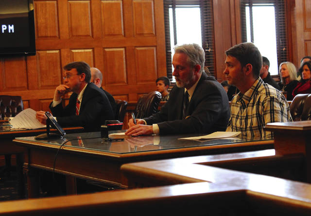 Anna Bolton | Greene County News Assistant Prosecutor David Morrison, Defense Attorney Gardner Combs and defendant Matthew Bolen listen in Judge Stephen Wolaver's courtroom during the plea hearing Jan. 31.