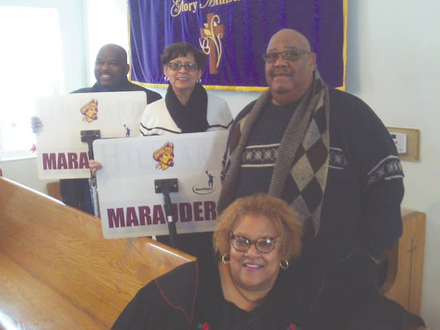 Glory Ministries Church, located at 880 Hoop Rd. in Xenia, recently purchased and gifted the Central State University Men's and Women's basketball teams with basketball floor mops for the 2017-2018 Basketball Season. Pictured are Rev. Dr. Gloria Wade Dillon (front), Pastor. Right to left: trustees James and Helen Wade; and CSU employee Cedric Tolbert, with the basketball floor mops.