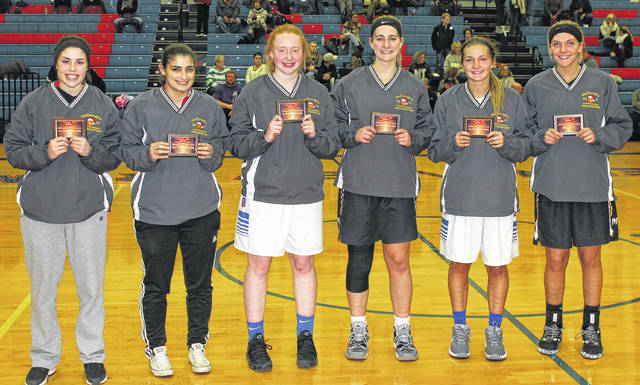 2017 McDONALD'S ALL-TOURNAMENT TEAM — (l-r); Kerrigan Kelley, Madison Plains; Kaitlin Patterson, London; Faith Strickle, Greeneview; Victoria Fliehman, Miami Trace; Frankie Fife, Greeneview and the tournament's Most Valuable Player, Tanner Bryant of Miami Trace.