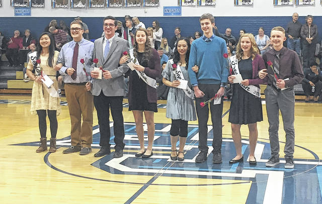 Submitted photo Xenia Legacy Christian Academy recently celebrated its Homecoming. The court was named at an LCA boys basketball game, a 64-41 win over Jefferson Township. Court members are seniors Tori Estepp and Matt Sullivan; juniors David Rose and Emily Riddle; sophomores Emery Copley and Jack Ewing; and freshmen Margaret Kensinger and Payton Burdette.