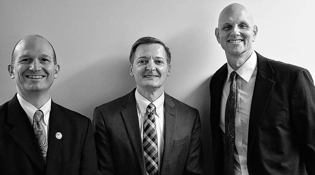 Submitted photo Scott Graham, Bishop Eric Barnes, and Teg McBride will serve the LDS church in Beavercreek.