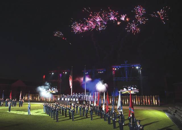 Submitted photo Members with the U.S. Air Force Honor Guard and Band perform during the U.S. Air Force Tattoo at Joint Base Anacostia-Bolling, Washington, D.C., Sept. 13, 2017. Service members from across the National Capital Region attended the tattoo in commemoration of the Air Force's 70th anniversary.