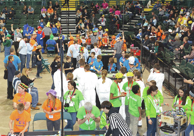 Barb Slone | Greene County News Sixty teams of 9-to-14 year old individuals demonstrated their engineering and problem-solving skills Feb. 4 at the First Lego League Ohio Championship Tournament. Competitors were tasked with discovering ways to improve the transportation, use and disposal of water as hydro dynamics was the theme of the competition. Several Greene County teams, including the pictured Darth Foxes, participated.