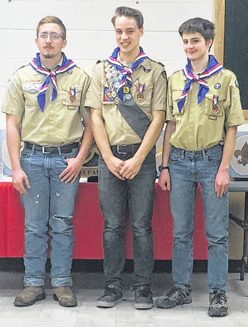 Submited photo Xenia Boy Scout Troop 165 recognized three scouts that achieved the rank of Eagle Scout. Ryan Arsenault, Tatum Shepherd, and Alex Hargrave each worked hard for several years to earn the highest rank in scouting. Nationally only about 4 percent of scouts earn this rank.