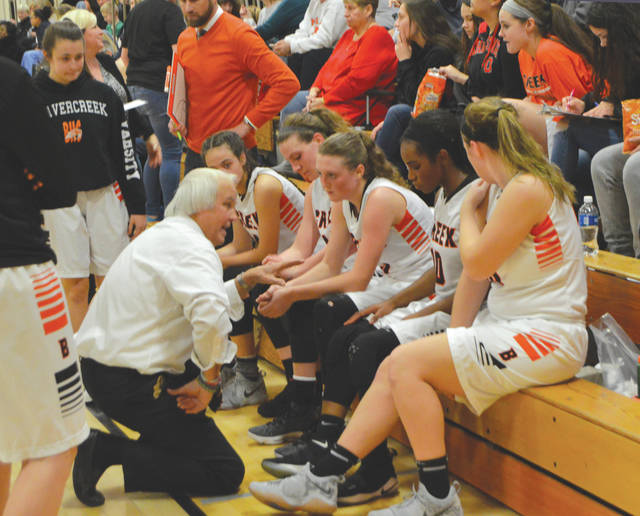 Ed Zink, shown talking with his 2018 team during a home win over Centerville, has been named the Division I Southwest District Coach of the Year.