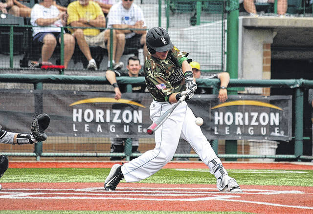 Peyton Burdick at bat for the Wright State University Raiders, March 11 at Nischwitz Stadium in Fairborn.
