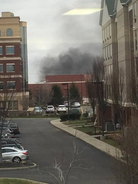 Submitted photo Solar panels are believed to be the cause for the fire on the roof of the Beavercreek Walmart, according to officials. Firefighters have contained the fire.