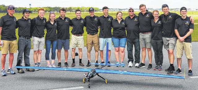 Submitted photo Cedarville University mechanical engineering seniors competed with their newly designed remote control airplane and were internationally recognized in three categories.