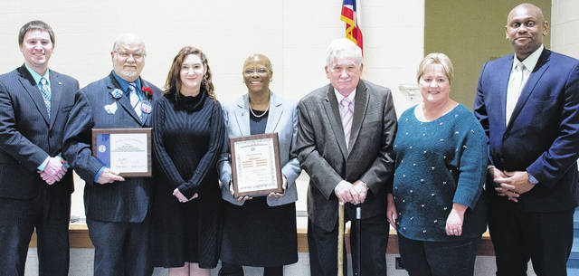 Submitted photo The Xenia board of education received gold level status as an effective school board. Pictured are treasurer Eric Soltis, board members Bill Spahr, Jennifer Marietta, Cheryl Marcus, Paul Dillaplain, Pam Callahan, and Superintendent Dr. Gabriel Lofton.