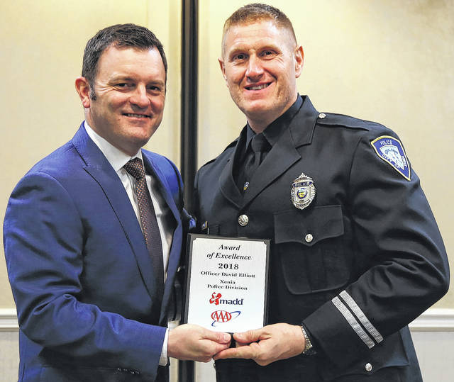 Submitted photo Xenia police officer David Elliott received an Award of Excellence from Mothers Against Drunk Drivers in a recent awards ceremony.