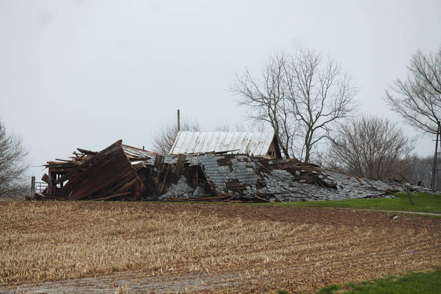 Anna Bolton | Greene County News Severe storms April 3 leveled a barn on State Route 72 near Fishworm Road in Cedarville.