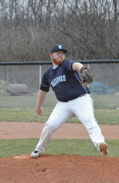Jacob Benge sends a pitch homeward during Fairborn's home high school baseball game March 19 with Graham High.