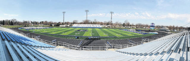 Scott Halasz | Greene County News Doug Adams Stadium hosted Xenia High School's first home track meet in more than a decade April 13 as the Doug Adams Track & Field Invitational was held. The stadium hosted a middle school meet April 12.