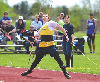 Kevin Knox, of Cedarville University, won the javelin throw with an NCAA provisional qualifying mark of 195 feet, 10 inches during the Yellow Jacket Collegiate Open, March 31 in Cedarville.