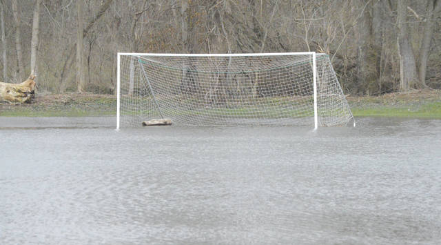 On a field more suitable for water polo, Mother Nature appears to have scored a goal with a piece of driftwood on Rotary Park's soccer field No. 2 in Beavercreek.