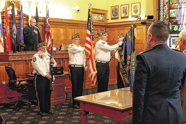 File photo A dedication ceremony was held for the new veterans' court in Greene County Common Pleas Court in November 2017. The specialized court, in action as of April 6, gives a hands-on approach to helping veterans through the criminal justice system.