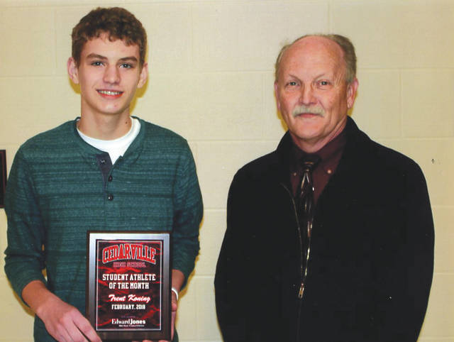 Trent Koning, left, was chosen as the Edward Jones Investments Athlete of the Month for February for Cedarville High School. This award is being sponsored by the office of Mike Reed at Edward Jones Investments of Xenia, serving Xenia, Jamestown, Cedarville and surrounding areas. A freshman on the basketball team, Koning averaged 10 points, 3.1 rebounds, 2.7 assists and 2.8 steals per game. He scored his season high of 27 points in a win over Northeastern on Jan. 9. He scored 20 points versus Southeastern on Feb. 9, and 18 points versus Madison Plains on Feb. 2. Koning was named to the Honorable Mention team in the Ohio Heritage Conference's South division. His grade-point average is an impressive 4.0.