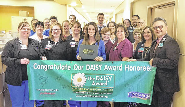 Submitted photo Administration and staff at Soin Medical Center recognized Jade Schmitt with a DAISY Award recently.