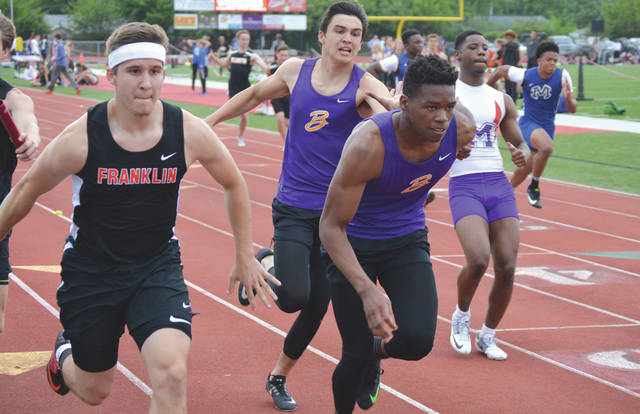 The Bellbrook boys 400-meter relay team placed ninth overall, just one spot from advancing, May 16, at the Division I district track and field meet at Wayne High School in Huber Heights.
