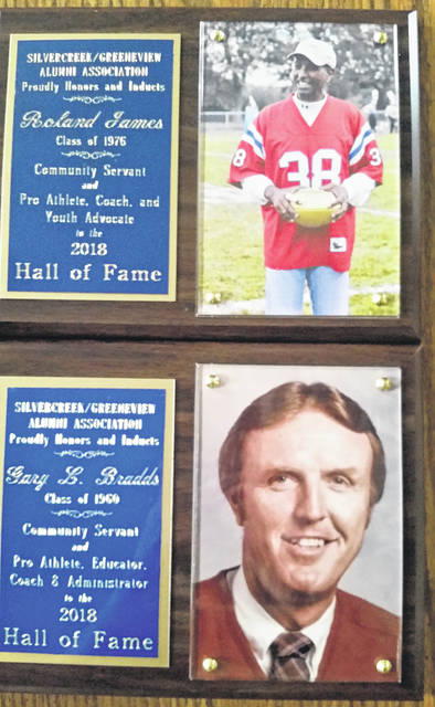 Submitted photo Roland James and Gary Bradds were induced into the Greeneview/Silvercreek hall of fame.