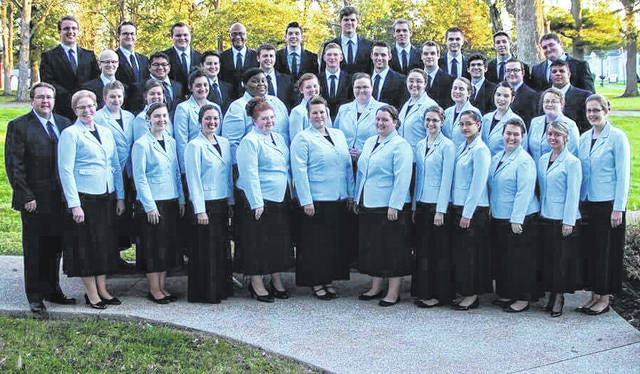 Submitted photo The Union Bible College Concert Choir from Westfield, Ind., will present an evening of inspirational gospel music at the Historic Jamestown Opera House 7 p.m. Friday, May 4. Tickets are $10 at the door. Handicap accessible seating is available for all events. For more information, call 937-675-3501or visit jamestownohiooperhouse.com.