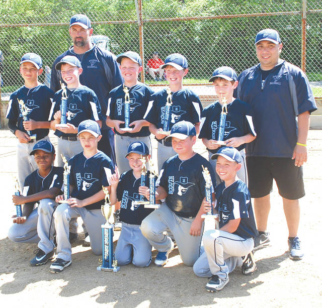 Members of the Xenia Scouts 10U youth baseball team pose with their first-place trophies. (L-R front row) Xavier Hargrave, Cameron Salyers, Drew Smith, Jake Mays, Adriel Angel. (Second row) David Cancino, Trevor Moore, Braedon Gill, Aaden Hilderbrand, Matthew Kingsolver. Coach L - R. Jacob Kingsolver, Pete Angel. Not pictured is Coach Brandon Salyers.