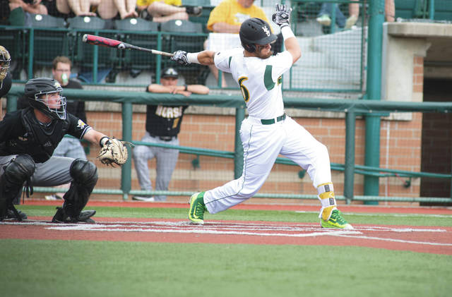 Zach Weatherford's clutch hitting was a big reason why the Wright State Raiders were able to win the Horizon League tournament on May 26 at Nischwitiz Stadium in Fairborn.