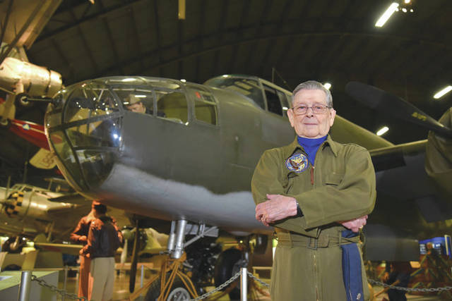 Submitted photo Former Air Force pilot Jack Hampshire poses for a photo in front of a North American B-25B Mitchell in the WWII Gallery at the National Museum of the U.S. Air Force.