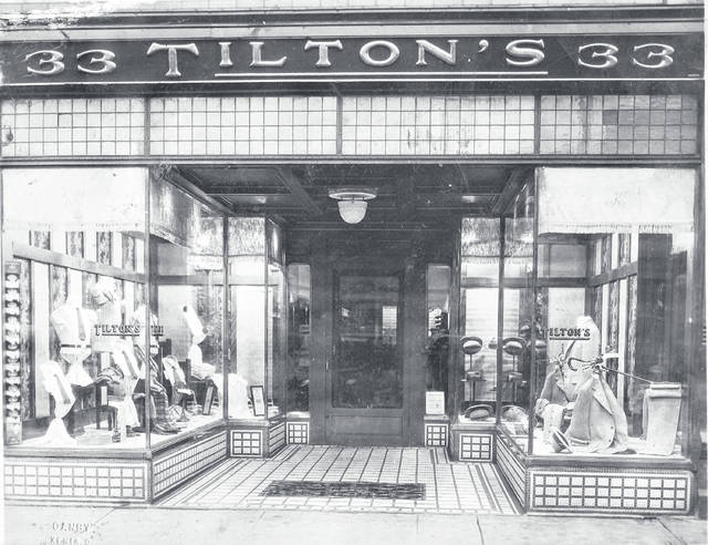 Submitted photo Pictured is Tilton's men's clothing at 33 East Main Street, about 1925. This was a men's clothing store with various owners from 1897-1926, Gallaher drugstore from 1927-1948, and Welfare Finance Corp. from 1950-1975. It's currently Mary's Odds & Ends at 63 East Main Street.