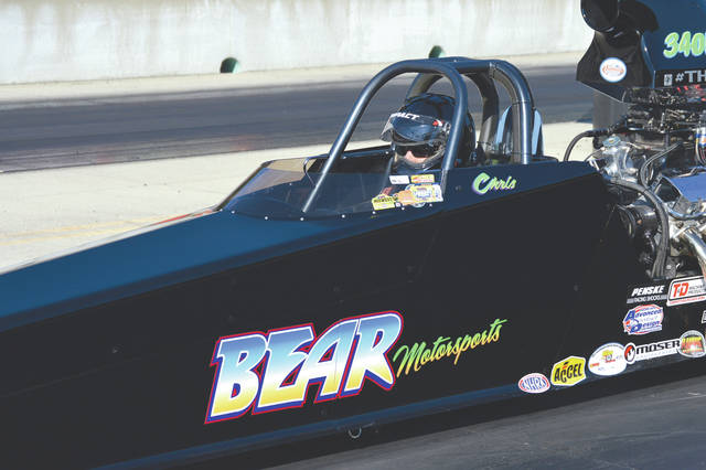 Oregon, Ohio native Chris Bear gets focused for a run in his Super Pro dragster, June 30 at Kil-Kare Dragway.