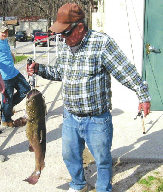 """Ray Hale holds """"Old Whiskers,"""" a giant catfish that had been caught and released in Spring Lakes Park in 2014. """"Old Whiskers"""" and several other large fish are said to be in the park's pond for the Greene County Parks & Trails adult fishing derby, to be held from 8-10 a.m. Saturday, June 16 in Bellbrook."""