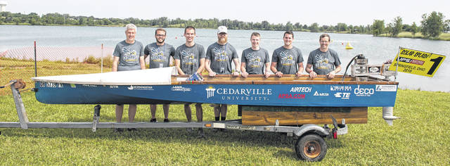 Submitted photo Cedarville University's solar boat team captured its fourth-straight title at the recently completed World Championship of Solar Boating. Pictured are Dr. Tim Dewhurst, senior professor of mechanical engineering and solar boat co-advisor, graduated seniors Joshua Heanssler, Josh Schroepfer, Will Heinig, Andrew Nelson, and Jonathan Cox, and Dr. Gerry Brown, associate professor of electrical engineering and solar boat co-advisor.